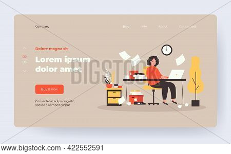 Busy Secretary Sitting At Desk With Laptop, Folders And Pile Of Papers Isolated Flat Vector Illustra
