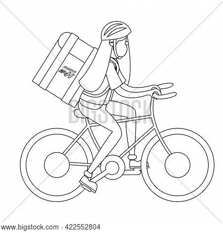 Isolated Delivery Girl With A Package On A Bicycle Vector Illustration