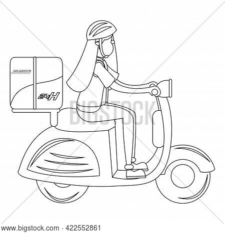 Isolated Delivery Girl With A Package On A Motorcycle Vector Illustration