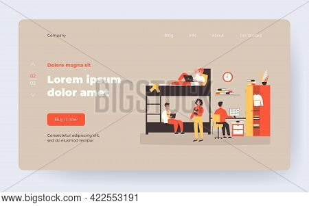 Dorm Room For Living, Sleeping And Studying In Academic Year Flat Vector Illustration. Cartoon Stude