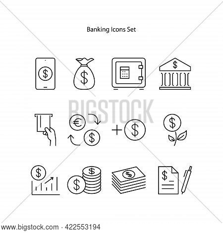 Bank Icons Set Isolated On White Background. Bank Icon Thin Line Outline Linear Bank Symbol For Logo