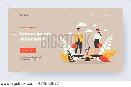 Equal Male And Female Tiny Employees Standing On Balance Scale. Vector Illustration For Gender Equal