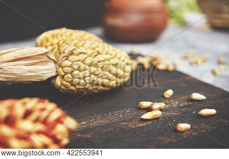 Peruvian Food: Serrano Corn, Typical Appetizer Called Cancha. Mix Of Peruvian Native Variety Of Heir