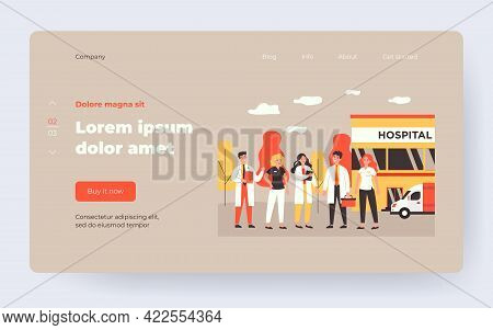 Affable Medical Team Staff Standing In Clinic Yard Isolated Flat Vector Illustration. Cartoon Group