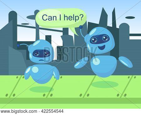 Cute Robot Character Offering Help To Sad Bot Illustration. Happy Cartoon Cyborg Comforting Upset Ma