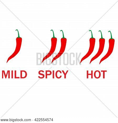 Spicy Chili Pepper Levels On White Background. Hot Red Pepper Strength Scale Indicator With Mild, Sp