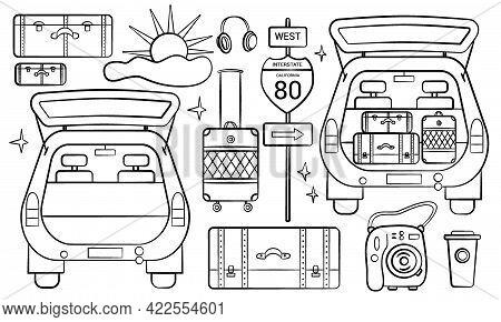 Road Auto Trip. Set Of Doodle Travel Design Elements. Hand Drawn Road Trip Doodles Perfect For Vacat