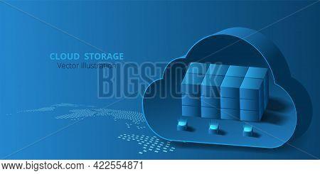 Cloud Data Storage Concept.vector Illustration Cloud Storage On World Map.isometric Modern Cloud Tec