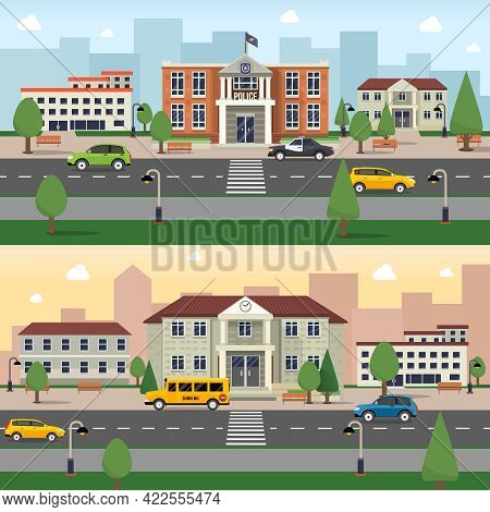 Municipal Buildings Horizontal Banner Set With Police Office And School Outdoors Vector Illustration