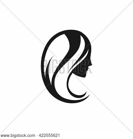 Black Woman Silhouette Logotype. Female Face In Profile. Vector Logo Isolated On White. Beautiful Si
