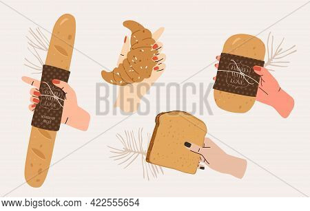 Human Hands With Pastry Illustration Set. Different Hands With Various Sorts Of Bread: Baguette, Cro