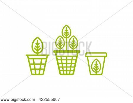 Garbage Bin, Trash Can, Wastebasket With Leaves. Eco Line Icons Set. Reuse, Clean, Smart Waste And R