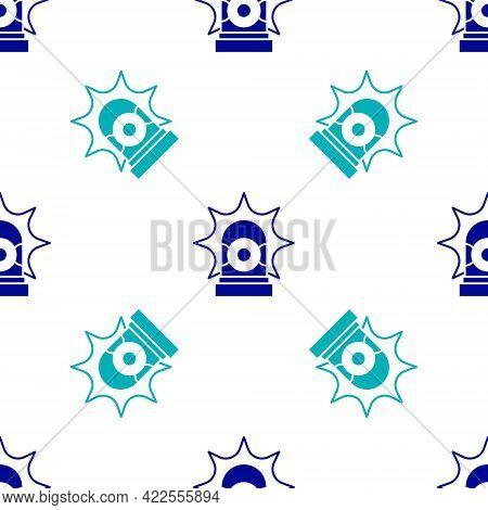Blue Flasher Siren Icon Isolated Seamless Pattern On White Background. Emergency Flashing Siren. Vec