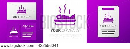 Logotype Served Fish On A Plate Icon Isolated On White Background. Logo Design Template Element. Vec
