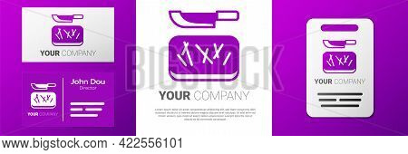 Logotype Cutting Board And Knife Icon Isolated On White Background. Chopping Board Symbol. Cutlery S