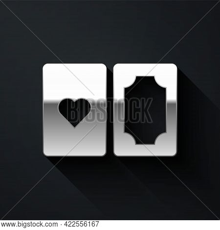 Silver Deck Of Playing Cards Icon Isolated On Black Background. Casino Gambling. Long Shadow Style.