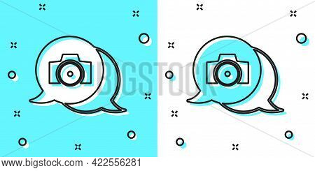 Black Line Photo Camera Icon Isolated On Green And White Background. Foto Camera. Digital Photograph
