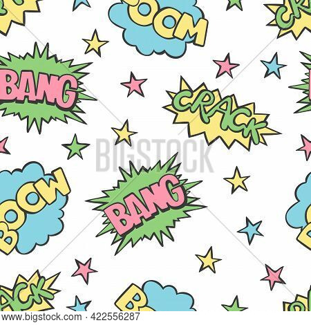 Bang. Crack. Boom. Words. Lettering. Comic. Dialogue Clouds. Seamless Vector Pattern (background). C
