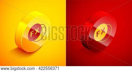 Isometric Photo Camera Fx Icon Isolated On Orange And Red Background. Foto Camera. Digital Photograp