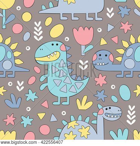 Diplodocus, Brontosaurus, Stegosaurus. Cartoon Animals. Plants: Flowers And Leaves. Doodle Figures.
