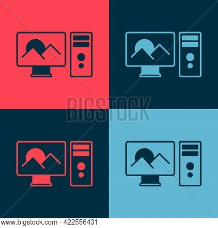 Pop Art Photo Retouching Icon Isolated On Color Background. Photographer, Photography, Retouch Icon.