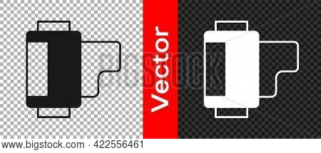 Black Camera Vintage Film Roll Cartridge Icon Isolated On Transparent Background. 35mm Film Canister