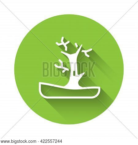 White Bare Tree Icon Isolated With Long Shadow. Green Circle Button. Vector
