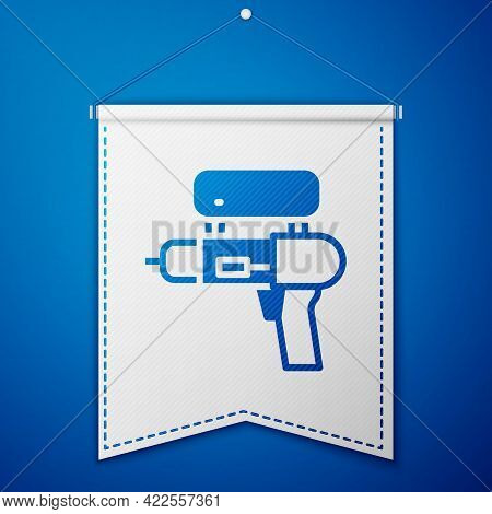 Blue Water Gun Icon Isolated On Blue Background. White Pennant Template. Vector