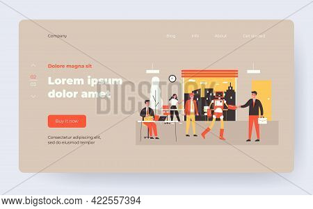 New Robotic Employee. Humanoid Robot Shaking Hands With Businessman In Office Flat Vector Illustrati