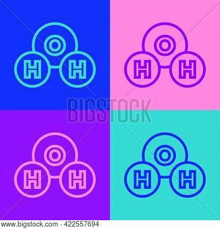 Pop Art Line Chemical Formula For Water Drops H2o Shaped Icon Isolated On Color Background. Vector
