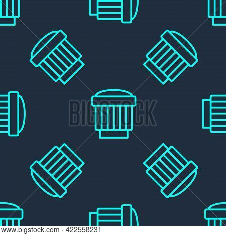 Green Line Camera Photo Lens Icon Isolated Seamless Pattern On Blue Background. Vector