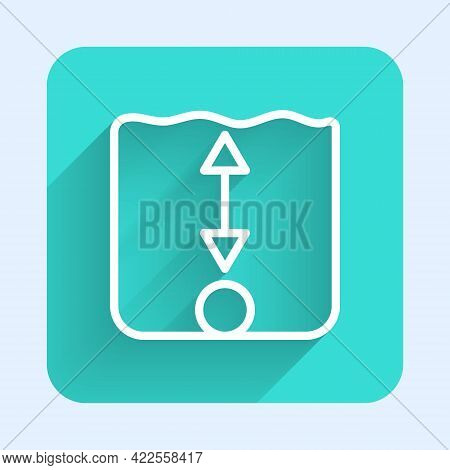 White Line Depth Measurement Icon Isolated With Long Shadow. Water Depth. Green Square Button. Vecto
