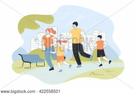Family Jogging Vector Illustration. Two Parents, Son And Daughter Doing Sports In Park. Morning Run