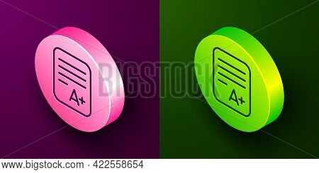 Isometric Line Exam Sheet With A Plus Grade Icon Isolated On Purple And Green Background. Test Paper