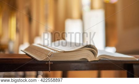 The Opened Bible On Altar In The Public Church.