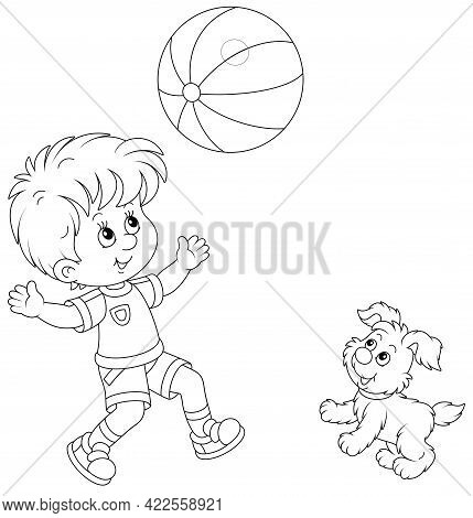Happy Little Boy Running And Playing A Big Striped Ball With His Cute Merry Pup On Summer Vacation,