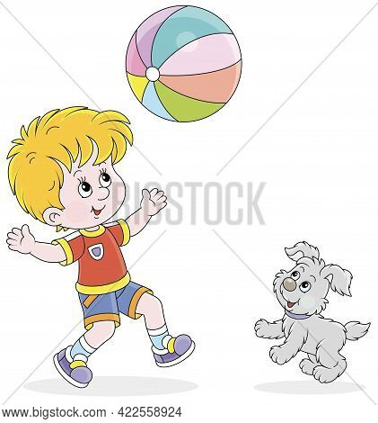 Happy Little Boy Running And Playing A Big Colorful Ball With His Cute Merry Pup On Summer Vacation,