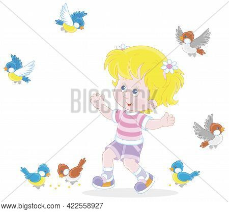 Happy Little Girl Playing With A Small Flock Of Merry Sparrows And Titmice, Vector Cartoon Illustrat