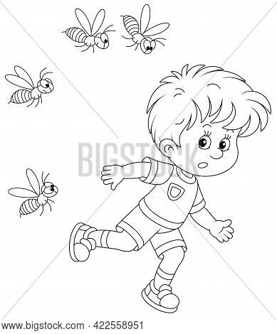 Afraid Little Boy Running Away From A Swarm Of Angry Wasps Flying And Humming Around Him, Black And