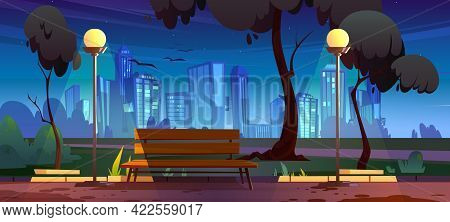 Night City Park With Bench Summer Scenery View With Glowing Street Lamps And Skyscrapers Cityscape.
