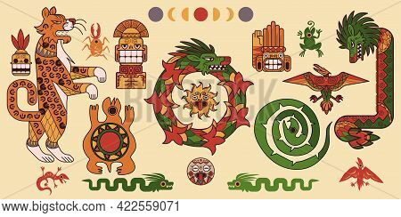 Set Of Mayan Or Aztec Patterns, Tribal Mexican Mesoamerican Culture Decorative Elements, Ethnic Orna