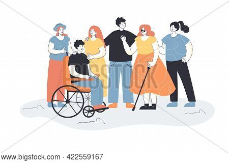 Men And Women Welcoming People With Disabilities. Group Of People Meeting Blind Female Character And