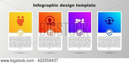 Set User Of Man, Create Account Screen, Project Team Base And Human Resources. Business Infographic