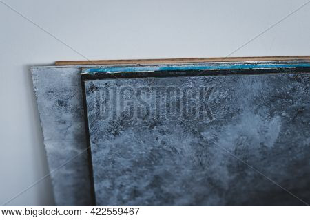 Group Of Original Homemade Photography Backdrops Painted On Mdf Boards Against The Wall
