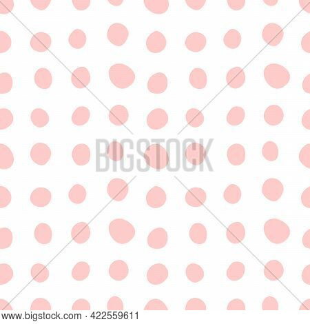 Spotty Abstract Vector Seamless Pattern. Polka Dot, Circles, Spots, Stains, Bubbles, Stones In Row.