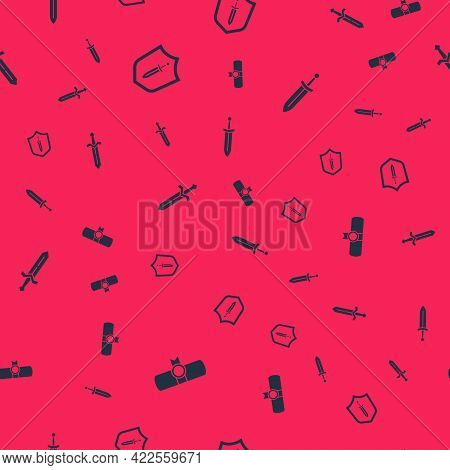 Set Decree, Parchment, Scroll, Medieval Shield With Sword, And On Seamless Pattern. Vector