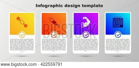 Set Dumbbell, Doping Syringe, Bodybuilder Muscle And Calendar Fitness. Business Infographic Template