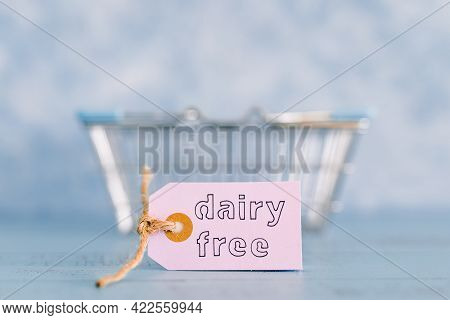 Dairy-free Product Tags With Shopping Basket, Plant-based Food Or Allergies And Nutritional Choices
