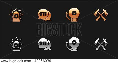 Set Flasher Siren, Telephone Call 911, Ringing Alarm Bell And Firefighter Axe Icon. Vector