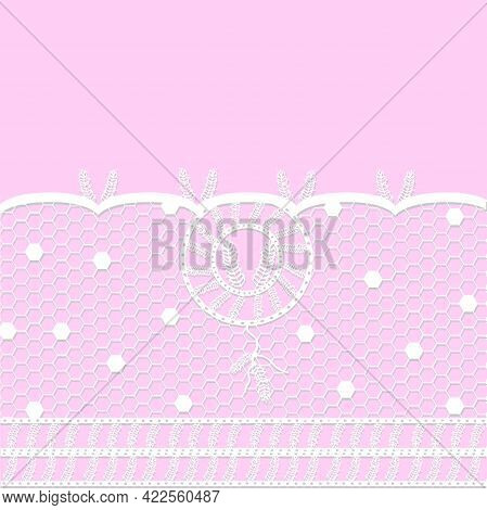 Airy White Lace With Dreamcatcher Vector Illustration